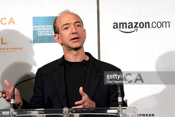 Founder and CEO of Amazoncom Jeff Bezos speaks during the Tribeca Film Festival partnership press conference at the Tribeca Cinemas March 3 2005 in...