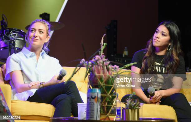 Founder and CEO of Bumble Whitney Wolfe and Gina Rodriguez speak onstage during Bumble Presents: Empowering Connections at Fair Market on March 10,...