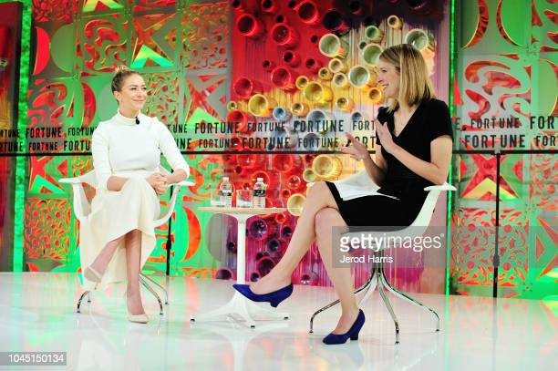 Founder and CEO of Bumble Whitney Wolfe Herd and Deputy Digital Editor of The Broadsheet Kristen Bellstrom attend Fortune Most Powerful Women Summit...