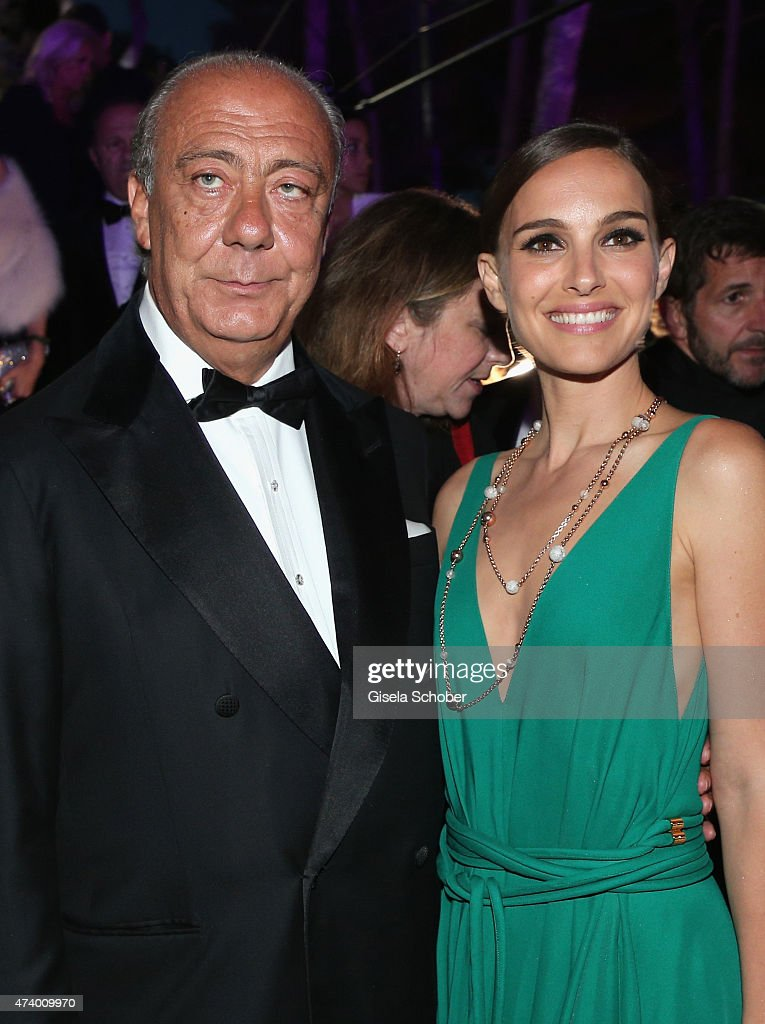Founder and CEO of De Grisogono Fawaz Gruosi and actress Natalie Portman attend the De Grisogono party during the 68th annual Cannes Film Festival on May 19, 2015 in Cap d'Antibes, France.