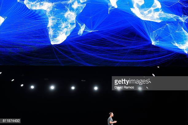 Founder and CEO of Facebook Mark Zuckerber speaks during the presentation of the new Samsung Galaxy S7 and Samsung Galaxy S7 edge on February 21 2016...