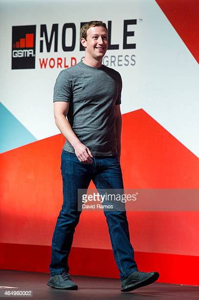 Founder and CEO of Facebook Mark Zuckerberg walks onto the stage prior to his keynote conference during the first day of the Mobile World Congress...