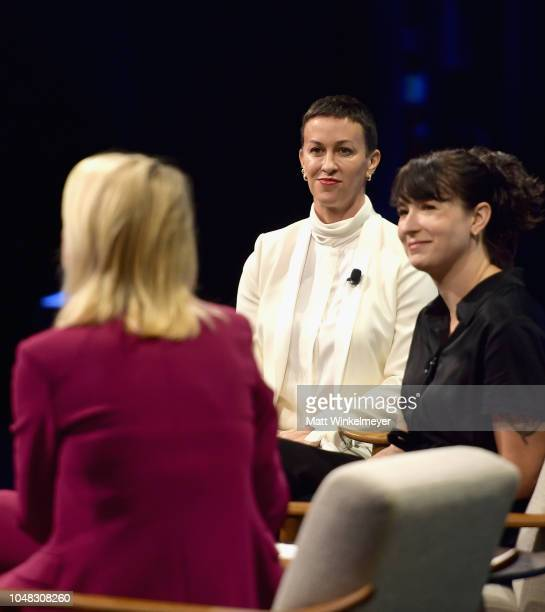 Founder and CEO of Friends at Work Ty Stiklorius Creators of Jagged Little Pill The Musical Alanis Morissette and Diablo Cody speak onstage at Day 1...