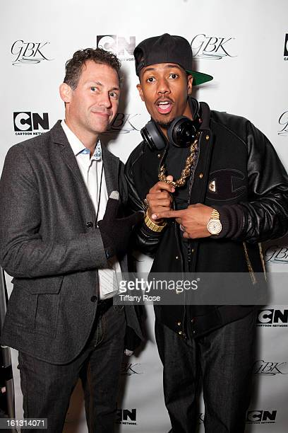 Founder and CEO of GBK Productions Gavin Keilly and Nick Cannon attend the GBK Cartoon Network's Official Backstage Thank You Lounge at Barker Hangar...