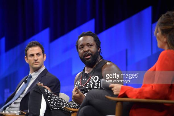 Founder and CEO of Jigsaw Jared Cohen author Marlon James and Contributing Editor at Vanity Fair Monica Lewinsky speak onstage during 'Talkin' About...