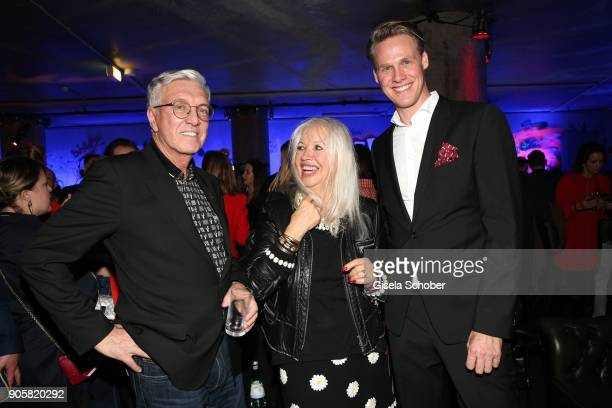 Founder and CEO of Marc Cain Helmut Schlotterer and wife Ute Schlotterer and Urs Konstantin Rouette during the Marc Cain Fashion Show Berlin...