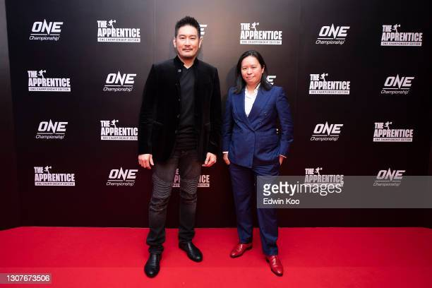 Founder and CEO of One Championship Chatri Sityodtong and Executive Producer & Founder Refinery Media Karen Seah pose following the premiere of The...