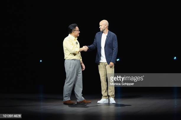 Founder and CEO of Spotify Daniel Ek joins President and CEO of IT and Mobile Communications at Samsung Electronics DJ Koh to announce a partnership...