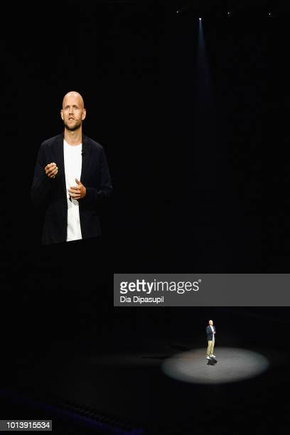 Founder and CEO of Spotify Daniel Ek speaks at the Samsung Galaxy Unpacked event where Samsung announced its partnership with Spotify at Barclays...