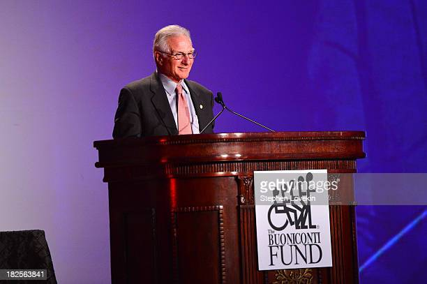 Founder and CEO of The Buoniconti Fund Nick Buoniconti speaks onstage at the 28th Annual Great Sports Legends Dinner to Benefit The Buoniconti Fund...