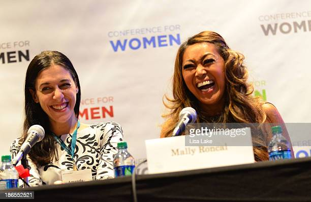 Founder and CEO of The Daily Worth Amanda Steinberg and makeup artist Mally Roncal participate in a panel discussion at the Pennsylvania Conference...