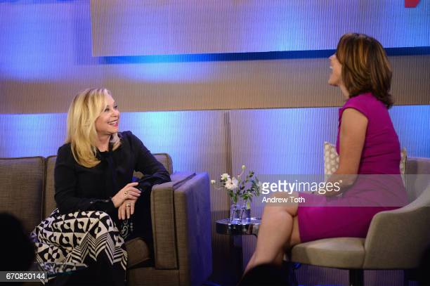 Founder and CEO of the RealReal Julie Wainwright and TV Host Hannah Storm speak onstage during Vanity Fair's Founders Fair at the 1 Hotel Brooklyn...