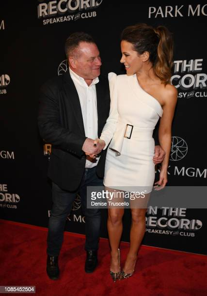 Founder and CEO of the Sydell Group Andrew Zobler and actress Kate Beckinsale arrive at the grand opening celebration of On The Record Speakeasy and...