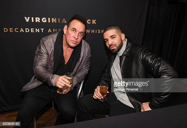 Founder and CEO of Virginia Black Decadent American Whiskey Brent Hocking and songwriter rapper and actor Drake attend the Canadian PreLaunch of...