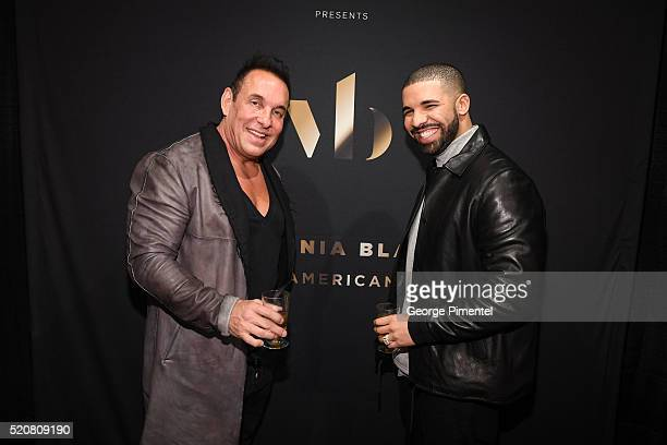 Founder and CEO of Virginia Black Decadent American Whiskey Brent Hocking and songwriter, rapper and actor Drake attend the Canadian Pre-Launch of...