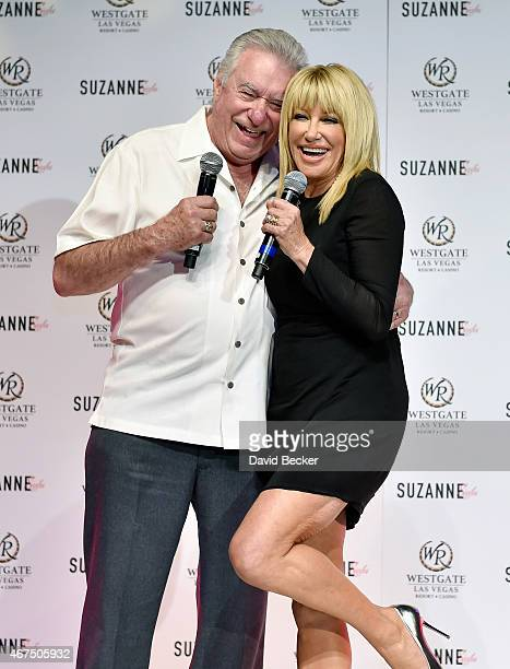 Founder and CEO of Westgate Resorts David Siegel and actress/author Suzanne Somers speak at a news conference announcing her residency Suzanne...