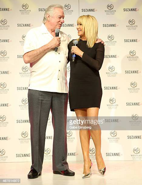 Founder and CEO of Westgate Resorts David Siegel and actress/author Suzanne Somers speak on stage during a news conference announcing Somers'...