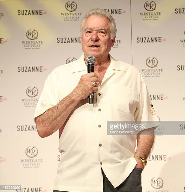 Founder and CEO of Westgate Resorts David Siegel speaks on stage during a news conference announcing Suzanne Somers' residency Suzanne Sizzles at the...