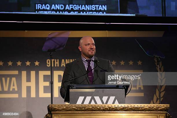 Founder and CEO Paul Rieckhoff speaks on stage at the 9th Annual IAVA Heroes Gala at the Cipriani 42nd Street on November 12 2015 in New York City