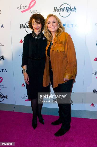Founder and Chair of the Breast Cancer Research foundation Evelyn Lauder and musician Melissa Etheridge attend Delta's kick off for Breast Cancer...