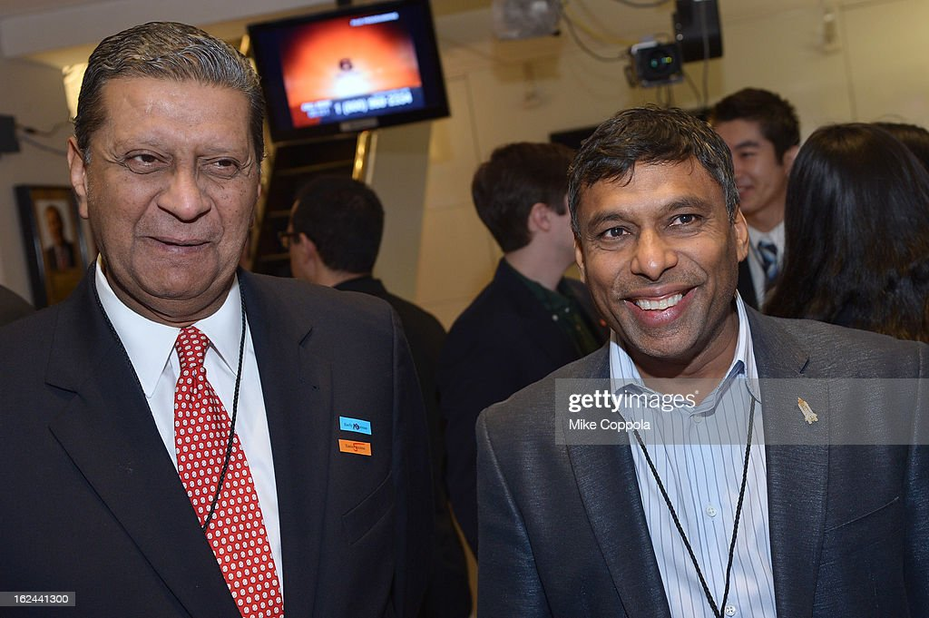 Founder and Chairman of Global Partnerships Forum Amir Dossal (L) and Naveen Jain attend the Kairos Society Global Summit at New York Stock Exchange on February 23, 2013 in New York City.
