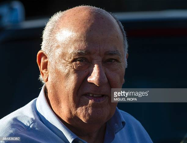 Founder and chairman of the Inditex fashion group Amancio Ortega stands at the end of the 32nd edition of the A Coruna International Show Jumping...