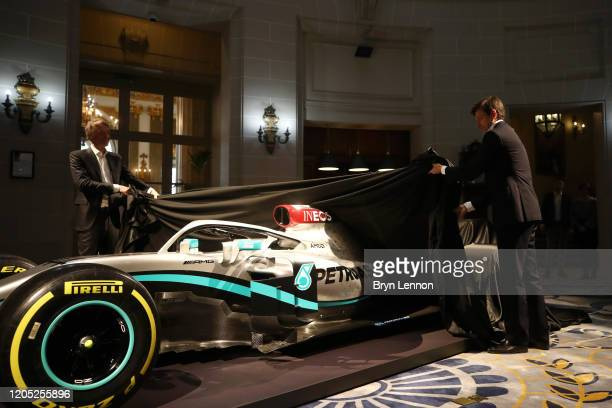 Founder and Chairman Sir Jim Ratcliffe and Toto Wolff Team Principal CEO of The Mercedes AMGPETRONAS F1 Team unveil a Mercedes F1 car and it's 2020...