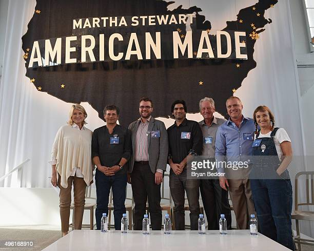 Founder and Chief Creative Officer MSLO Martha Stewart and the winners in agricultural category Lucian Smith of Smith Family Farms Kelly Morris of...