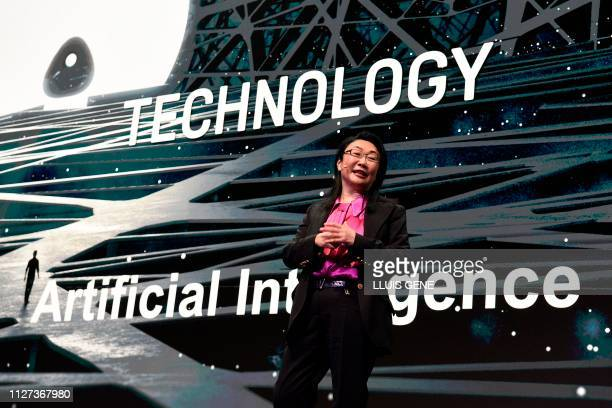 HTC founder and chief executive officer Cher Wang delivers a keynote speech at the Mobile World Congress in Barcelona on February 25 2019 Phone...