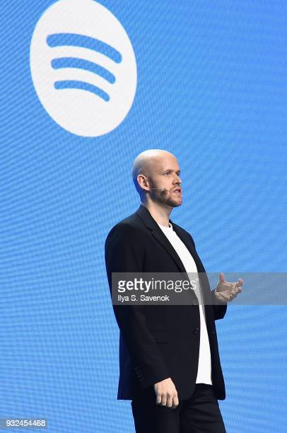Founder and Chief Executive Officer of Spotify Daniel Ek speaks onstage during Spotify Investor Day at Spring Studios on March 15 2018 in New York...