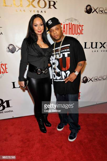 Founder and designer Lana Fuchs and recording artist Spliff Star arrive at the Billionaire Mafia/Spliff Star party at the CatHouse at the Luxor...