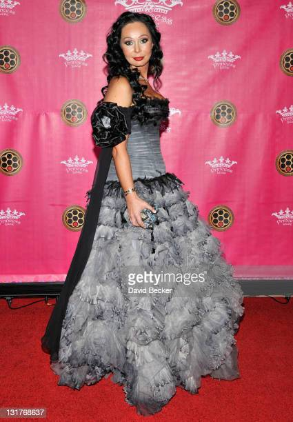 Founder and designer of Billionaire Mafia, Lana Fuchs, arrives for her daughter's bat mitzvah party at The Four Seasons Hotel Las Vegas on February...