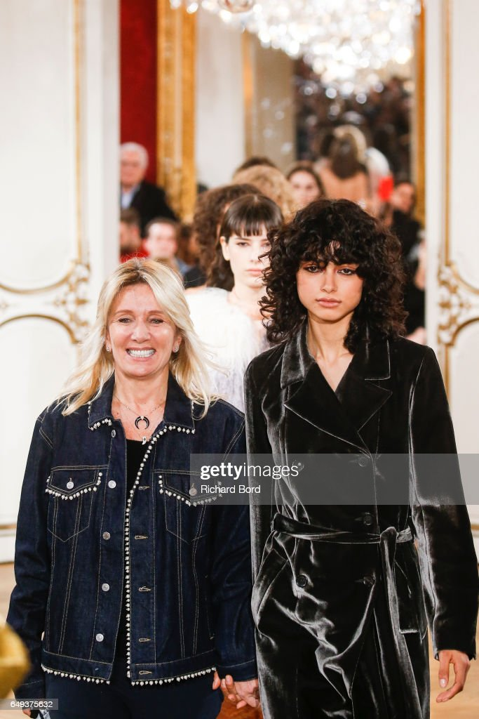 Founder and Designer Sophie Mechaly walks the runway with models during the Paul & Joe Paris show during Paris Fashion Week Womenswear Fall/Winter 2017/2018 on March 7, 2017 in Paris, France.