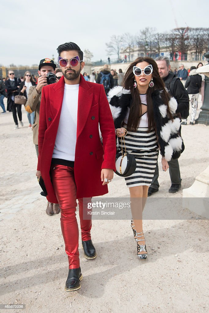 Founder and Director of Marzouk bags Fahad Al Marzouq with sister Shouq Almarzoq on day 5 of Paris Collections: Women on March 07, 2015 in Paris, France.