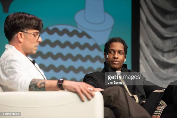 Founder and editorinchief of Cool Hunting Josh Rubin interviews rapper actor and creative director A$AP Rocky live on stage during the 2019 SXSW...