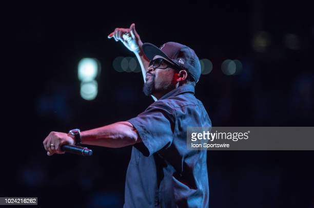 BIG3 founder and entertainer Ice Cube performs prior to the BIG3 Basketball Championship game between 3's Company and Power on August 24 2018 at...