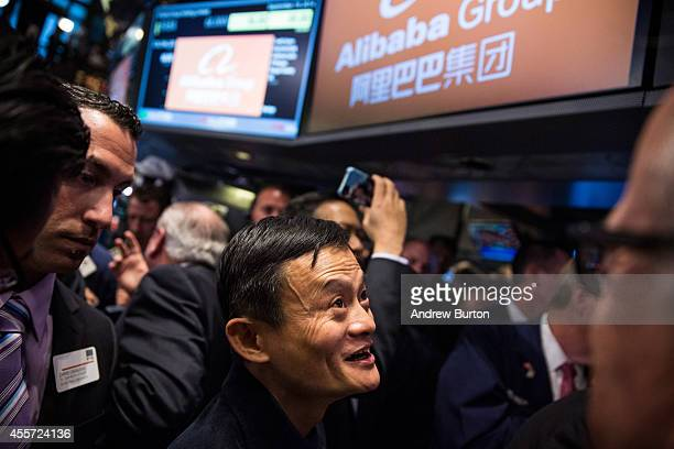 Founder and Executive Chairman of Alibaba Group Jack Ma attends the company's initial price offering at the New York Stock Exchange on September 19,...