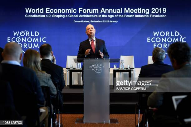 Founder and Executive Chairman of the World Economic Forum Klaus Schwab attends a press conference ahead of the 2019 edition of the annual meeting of...