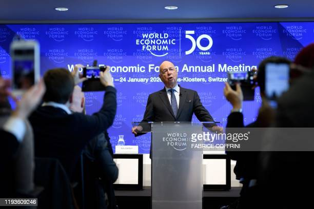 Founder and Executive Chairman of the World Economic Forum Klaus Schwab addresses a press conference ahead of the WEF's annual meeting in Cologny...