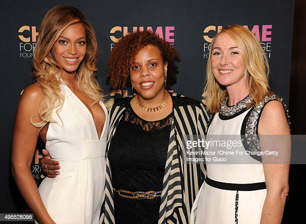 Founder and Executive Director Girls for Gender Equity Joanne Smith Beyonce and Gucci Creative Director Frida Giannini attend the CHIME FOR CHANGE...