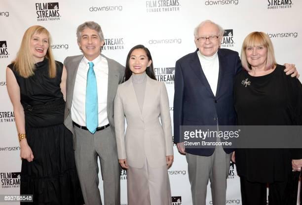 Founder and Executive Director of Film Streams Rachel Jacobson Alexander Payne Hong Chau Warren Buffett and Susie Buffett attend the 'Downsizing'...