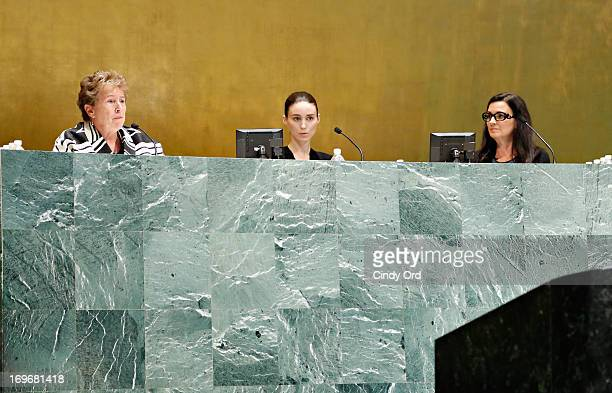 Founder and executive director of Hekima Place Kate Fletcher actress Rooney Mara and philanthropist Kathleen Rooney Mara take part in a panel...