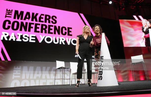 Founder and Executive Producer MAKERS Dyllan McGee and Liza Koshy speak onstage during The 2018 MAKERS Conference at NeueHouse Hollywood on February...