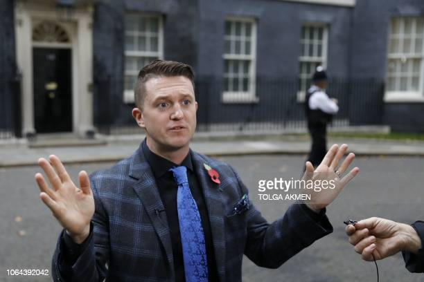 Founder and former leader of the anti-Islam English Defence League, Stephen Yaxley-Lennon, AKA Tommy Robinson, talks to the media after delivering a...