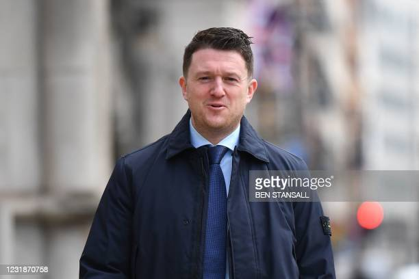 Founder and former leader of the anti-Islam English Defence League , Stephen Yaxley-Lennon, AKA Tommy Robinson, arrives at the High Court in central...