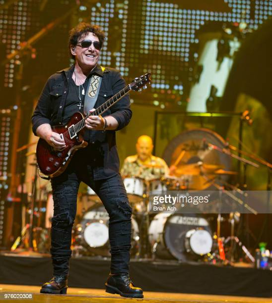 Founder and guitarist Neal Schon and drummer Steve Smith of the band Journey are seen at Prudential Center on June 15 2018 in Newark New Jersey