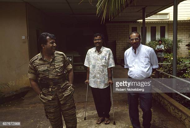 Founder and leader of the Liberation Tigers of Tamil Eelam Velupillai Prabhakaran left Tamil Chelvam center Anton Balasingham right speaks with Time...