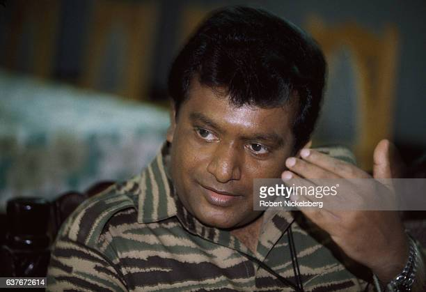 Founder and leader of the Liberation Tigers of Tamil Eelam Velupillai Prabhakaran speaks with Time magazine reporter Anita Pratap November 11994 in...