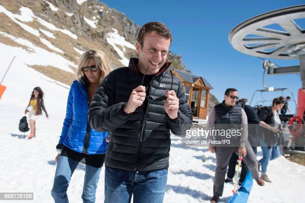Founder and Leader of the political movement 'En Marche ' and candidate for the 2017 French Presidential Election Emmanuel Macron and his wife...