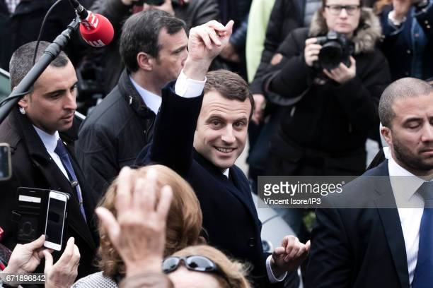 Founder and Leader of the political movement 'En Marche !' and presidential candidate Emmanuel Macron leaves his home on the day of voting for the...